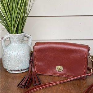 COACH Legacy Leather Penny Shoulder Purse Brown